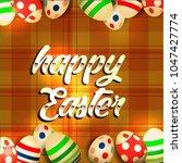 vector card with eggs. happy... | Shutterstock .eps vector #1047427774