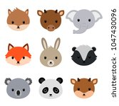cute animals collection. flat... | Shutterstock .eps vector #1047430096