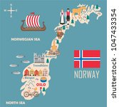 stylized map of norway. travel... | Shutterstock .eps vector #1047433354