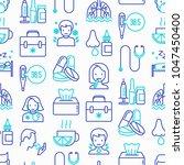 flu and symptoms seamless...   Shutterstock .eps vector #1047450400