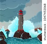 stormy seaside landscape with... | Shutterstock .eps vector #1047452068