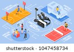 virtual reality isometric... | Shutterstock .eps vector #1047458734