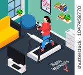 overweight isometric... | Shutterstock .eps vector #1047458770
