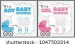 set of baby shower invitation... | Shutterstock .eps vector #1047503314