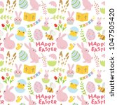 happy easter seamless pattern. | Shutterstock .eps vector #1047505420