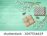 spring top view wooden... | Shutterstock .eps vector #1047516619