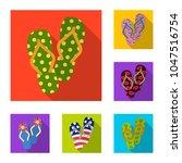 flip flops flat icons in set... | Shutterstock .eps vector #1047516754