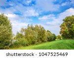 beautiful summer landscape with ... | Shutterstock . vector #1047525469