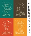 set of four christmas cards... | Shutterstock .eps vector #1047527818