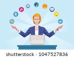 handsome senior woman wearing ... | Shutterstock .eps vector #1047527836