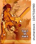 batsman sports player playing... | Shutterstock .eps vector #1047536980