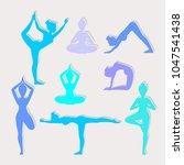 yoga poses. asanas. vector... | Shutterstock .eps vector #1047541438
