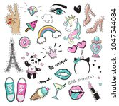 fashion patch badges with...   Shutterstock .eps vector #1047544084