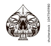 skull contour sketch for tattoo ... | Shutterstock .eps vector #1047545980