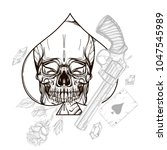 skull contour sketch for tattoo ... | Shutterstock .eps vector #1047545989