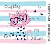 Cute Pretty Cat Animal Vector...