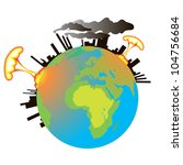 earth in the smoke of factories ... | Shutterstock . vector #104756684