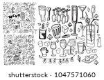 hand drawn food elements. set... | Shutterstock .eps vector #1047571060