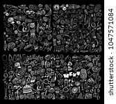 hand drawn food elements. set... | Shutterstock .eps vector #1047571084