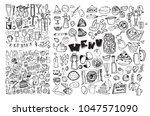 hand drawn food elements. set... | Shutterstock .eps vector #1047571090