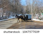 amish buggy travels on a road...   Shutterstock . vector #1047577039