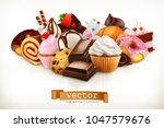 confectionery. chocolate  cakes ... | Shutterstock .eps vector #1047579676
