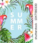 summer tropical card with... | Shutterstock .eps vector #1047580330