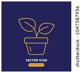 potted plant vector icon...