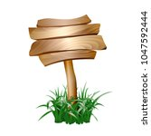 wooden sign in grass isolated... | Shutterstock .eps vector #1047592444
