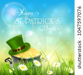green hat and cauldron with...   Shutterstock . vector #1047597076