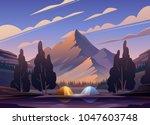 vector flat web banner on the... | Shutterstock .eps vector #1047603748