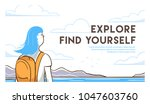travel woman with backpack find ... | Shutterstock .eps vector #1047603760
