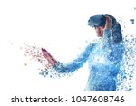 a person in virtual glasses... | Shutterstock . vector #1047608746