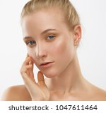 beautiful face and hands woman  ... | Shutterstock . vector #1047611464