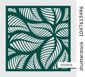 stencil with leaves. vector... | Shutterstock .eps vector #1047615496