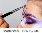 makeup artist paints. young... | Shutterstock . vector #1047617338