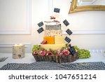 wedding cake made of cheese | Shutterstock . vector #1047651214