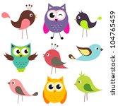 Set Of Cute Birds. Raster...