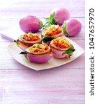 lentil stuffed eggplants. | Shutterstock . vector #1047657970