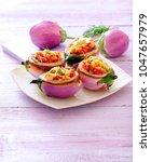 lentil stuffed eggplants. | Shutterstock . vector #1047657979