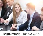 colleagues to discuss current... | Shutterstock . vector #1047659614