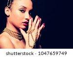 upscale indian woman wearing... | Shutterstock . vector #1047659749