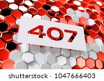 white number 407 on the red... | Shutterstock . vector #1047666403