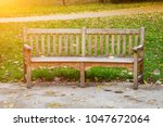 Old Vacant Rustic Wooden Bench...