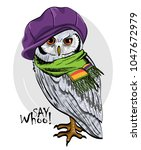vector owl with knitted hat... | Shutterstock .eps vector #1047672979