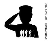 silhouette of soldier saluting | Shutterstock .eps vector #1047691780