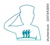 silhouette of soldier saluting | Shutterstock .eps vector #1047692854