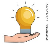 hand with bulb light isolated... | Shutterstock .eps vector #1047699799