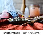 sacred space with sage and... | Shutterstock . vector #1047700396