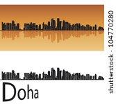 doha skyline in orange... | Shutterstock .eps vector #104770280